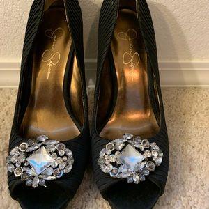 Jessica Simpson Black Pleated Peep-toe Pumps